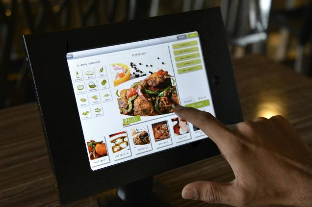 Ordering food on a tablet